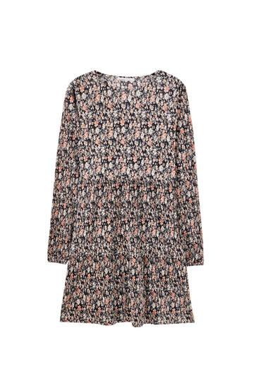 Vestido mini estampado plisado