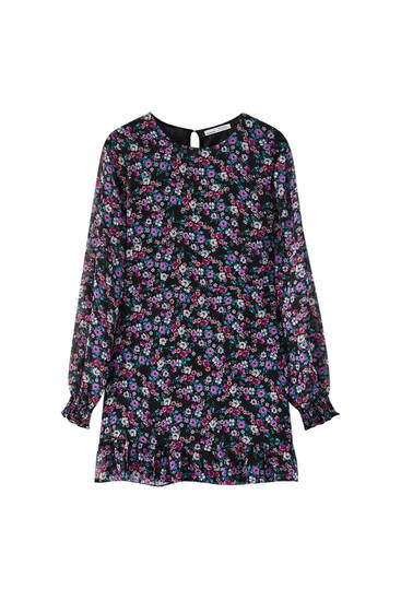 Floral mini dress with ruffled hem