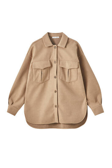 Synthetic wool overshirt with buttons