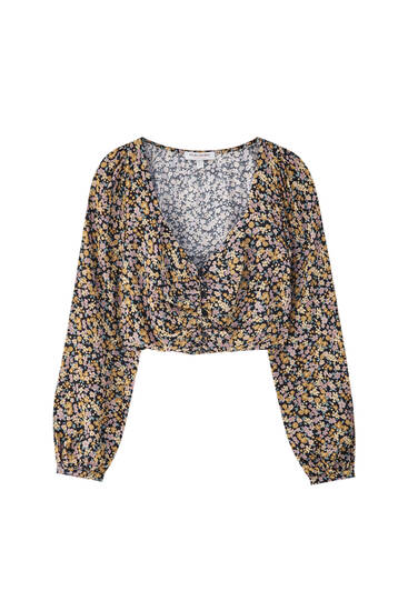 Printed cropped blouse with gathered detail