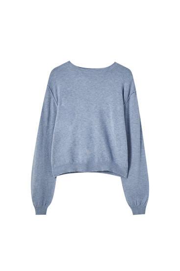 Basic gebreide trui met pofmouw