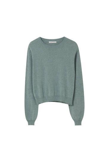 Πλεκτό πουλόβερ basic με φαρδιά μανίκια