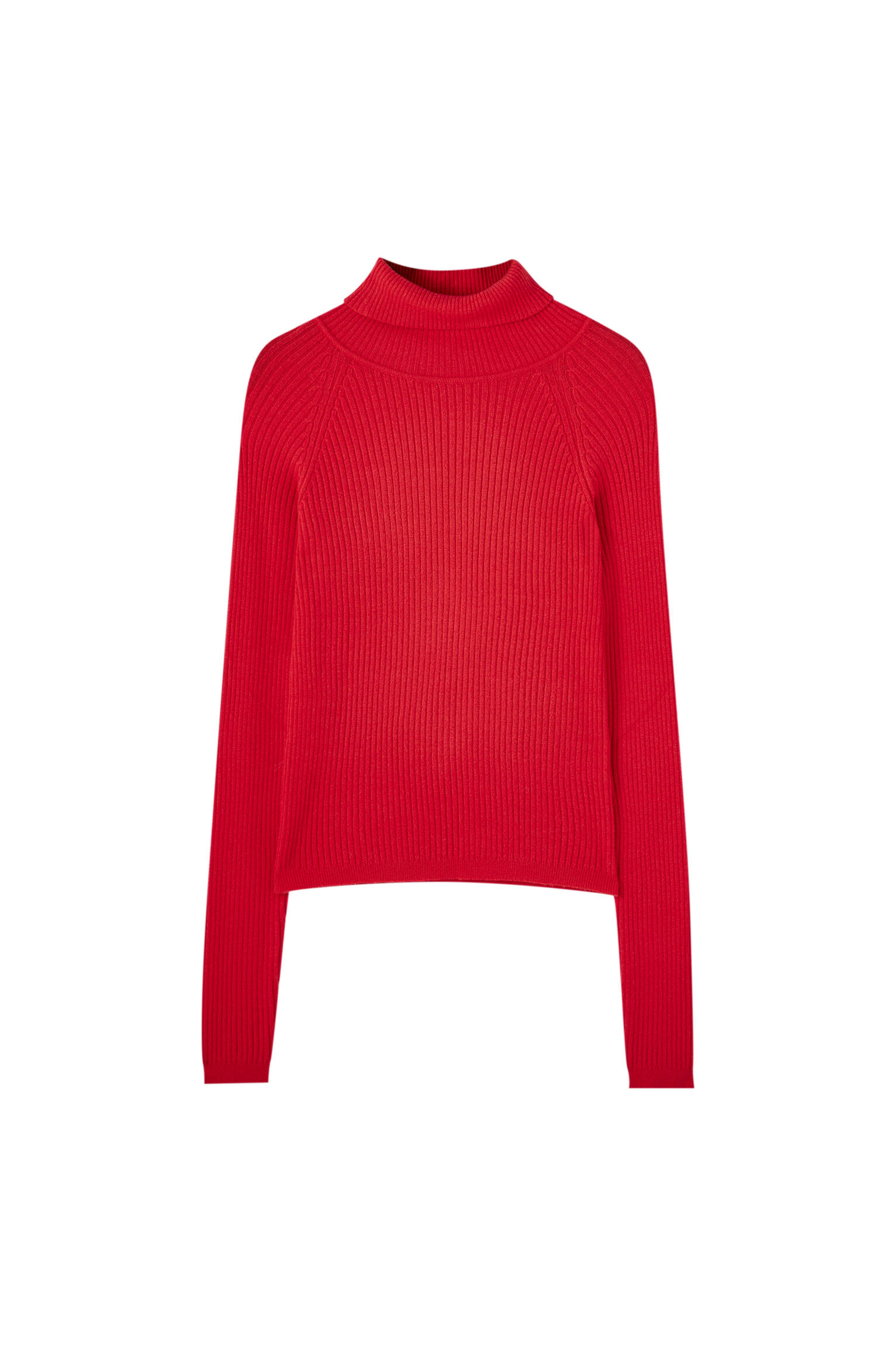КРАСНЫЙ Базовый свитер в рубчик с высоким воротником Pull & Bear