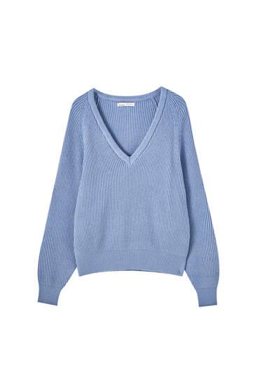 Μακρυμάνικο πουλόβερ με πλέξη μπριός