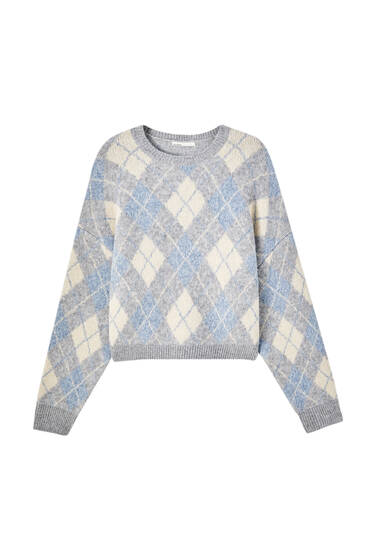 Three-tone argyle print sweater