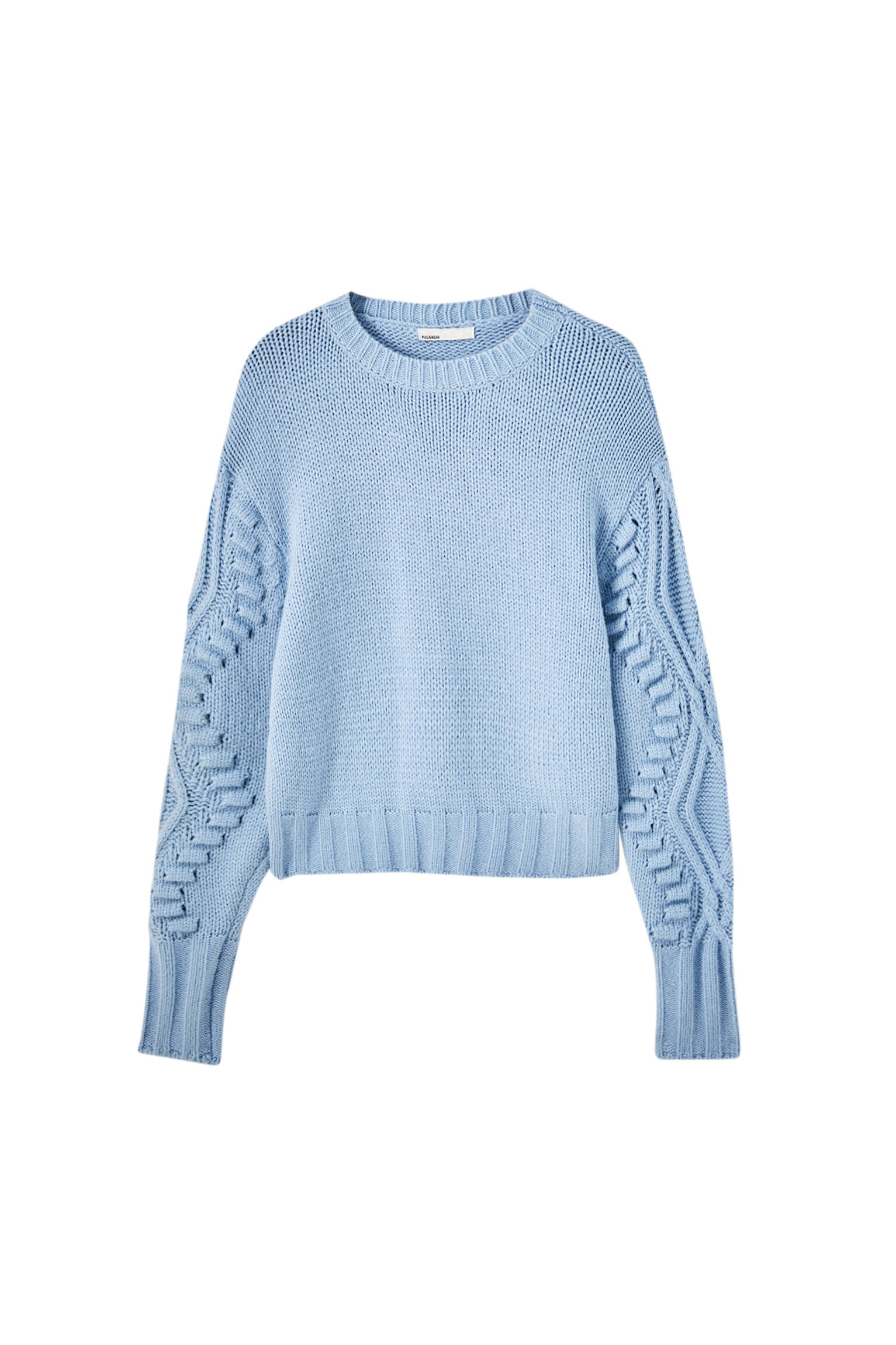 ГОЛУБОЙ Синий свитер крупной вязки с узором «косы» Pull & Bear