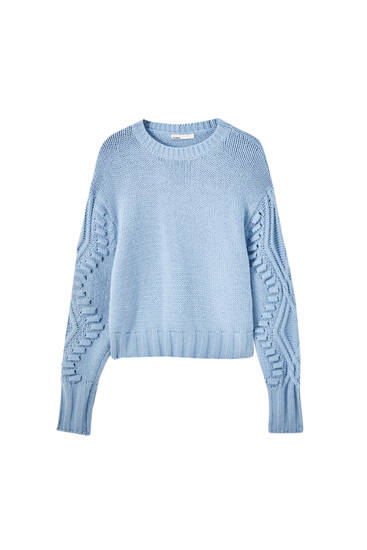 Blue aran knit sweater
