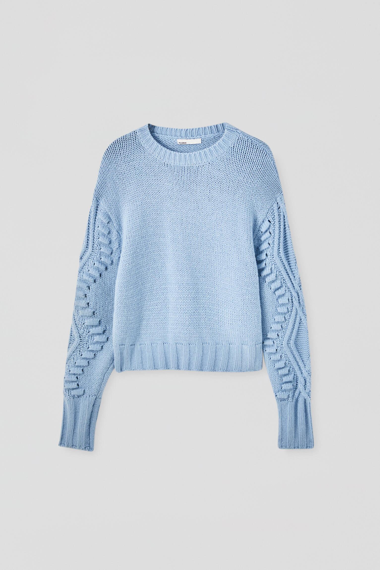 Синий свитер крупной вязки с узором «косы» ГОЛУБОЙ Pull & Bear