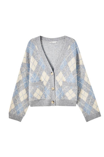 Three-tone argyle print cardigan