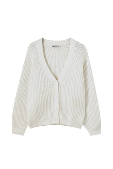 Knit cardigan with raglan sleeves