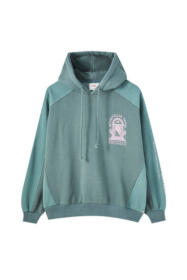 Green colour block hoodie