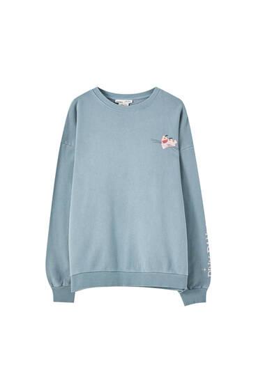 Sweatshirt Pantera Cor de Rosa com decote redondo