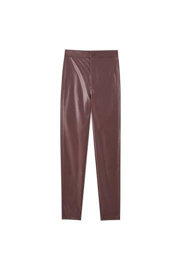 Παντελόνι skinny με όψη δέρματος