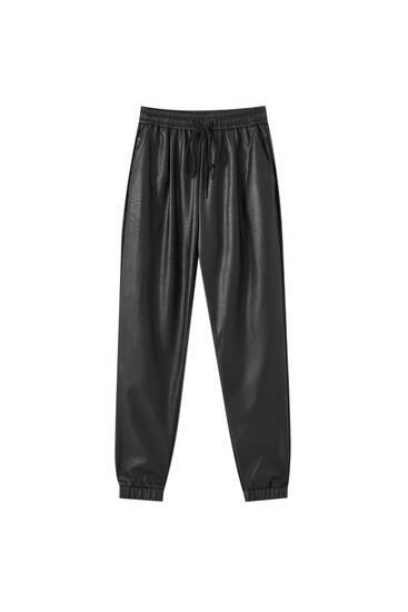 Pantalon jogger similicuir élastique