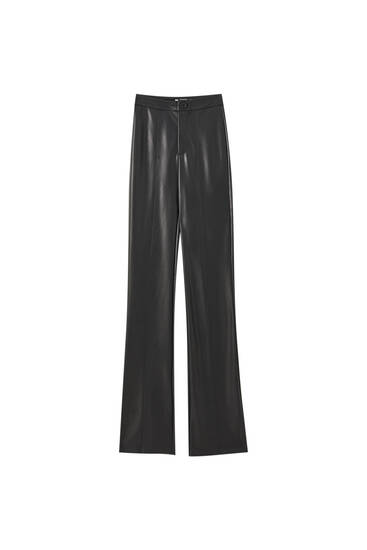 Black flared faux leather trousers