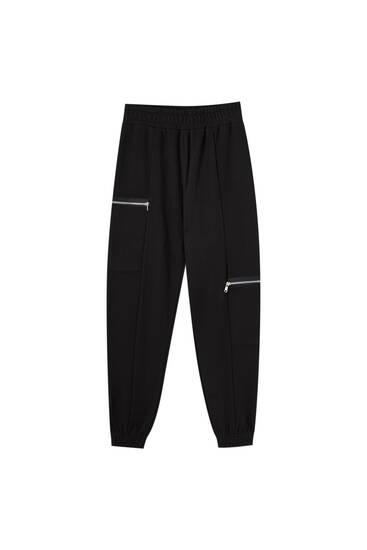 Black joggers with zips