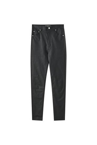 Calças coated de cintura subida
