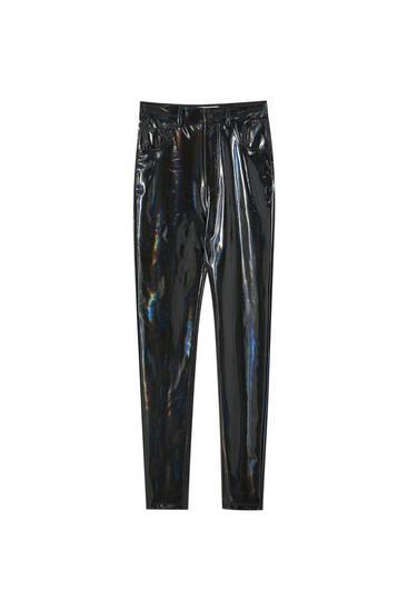 High-waist vinyl trousers