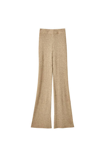 Ribbed wide-leg knit trousers