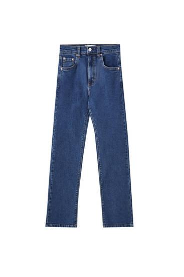 جينز أساسي واسع الساقين