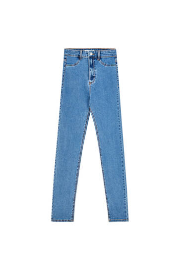 High-waist skinny jeans with yoke detail - Ecologically grown cotton (at least 50%)