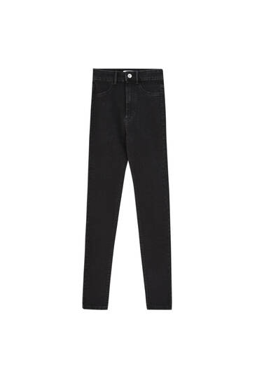 High-waist denim leggings - ecologically grown cotton (at least 50%)