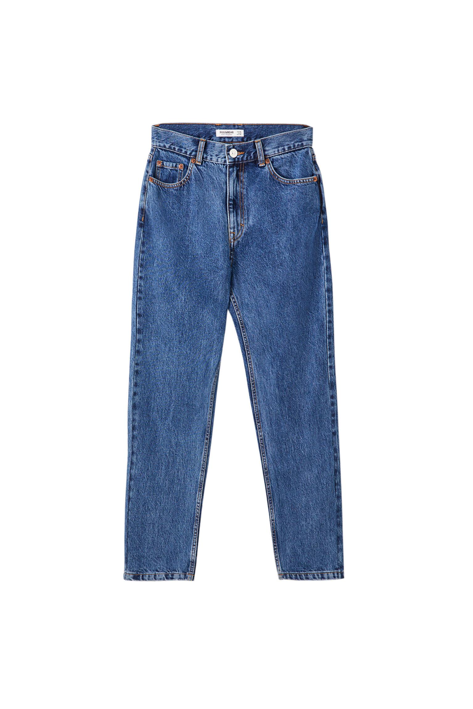 Синий Базовые джинсы mom fit Pull & Bear