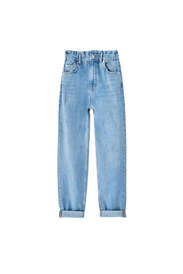 Jeans mom fit paperbag
