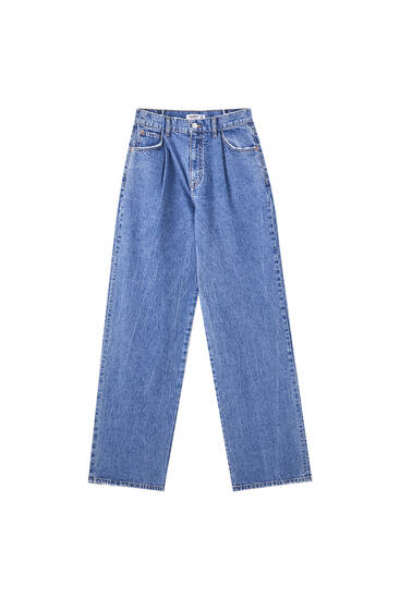 Ψηλόμεσο μπλε τζιν παντελόνι με πιέτες