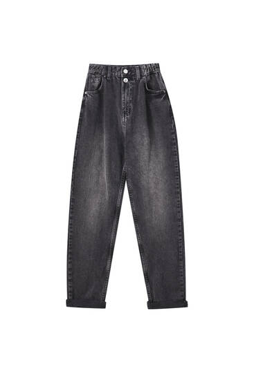 Mom jeans met elastiek in de taille