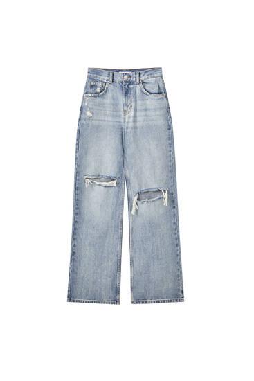 Τζιν παντελόνι με φαρδύ μπατζάκι και σκισίματα