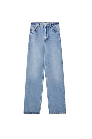 Blue high-waist jeans