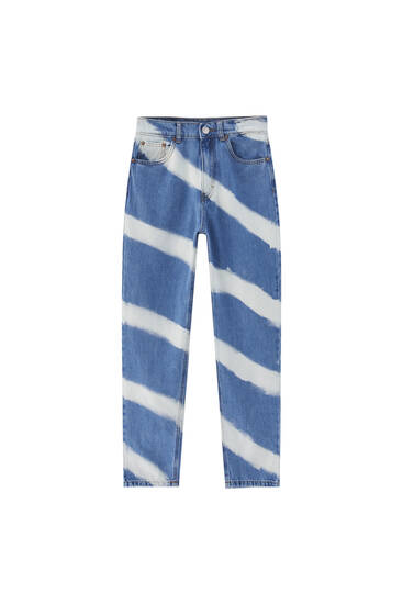 Striped tie-dye mom jeans - At least 50% ecologically grown cotton