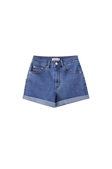High-waist denim shorts with turn-up cuffs