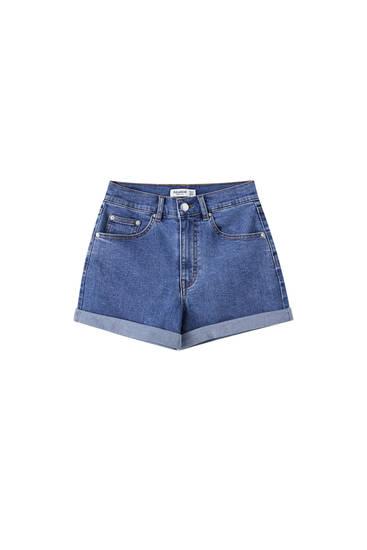 High-waist denim shorts with turn-up cuffs