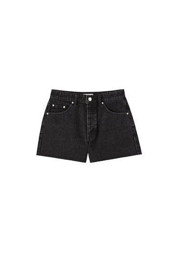 Basic mid-rise denim shorts