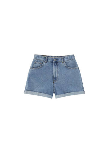 Mom fit denim shorts with elastic waist