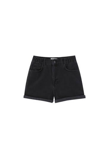 Mom fit denim shorts with elastic waist