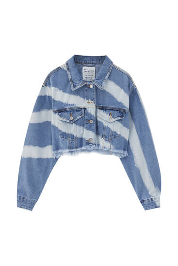 Cropped tie-dye denim jacket