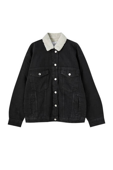 Denim jacket with faux shearling collar