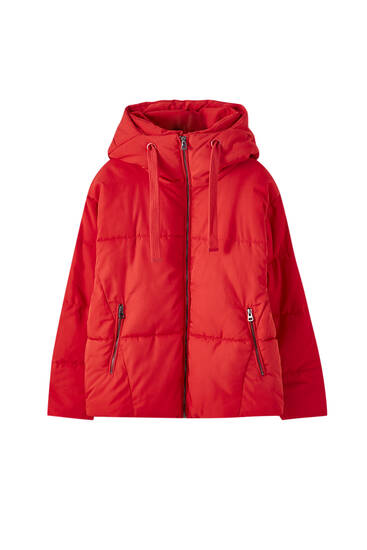Puffer jacket with drawstring hood