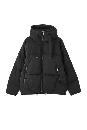 Chamarra acolchada capucha algodón