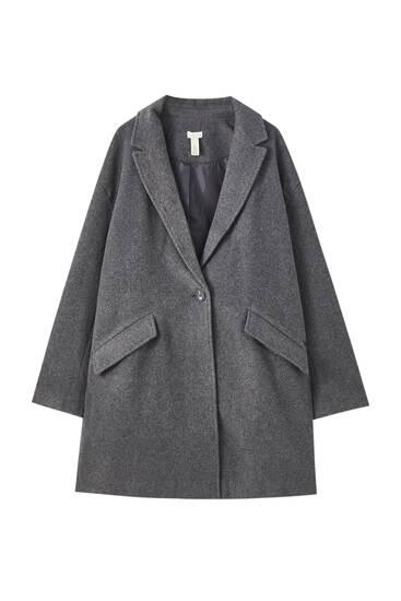 Dlouhý kabát s kapsami s klopou
