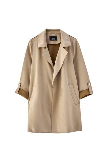 Long faux suede coat