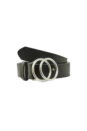 Black belt with rounded double buckle