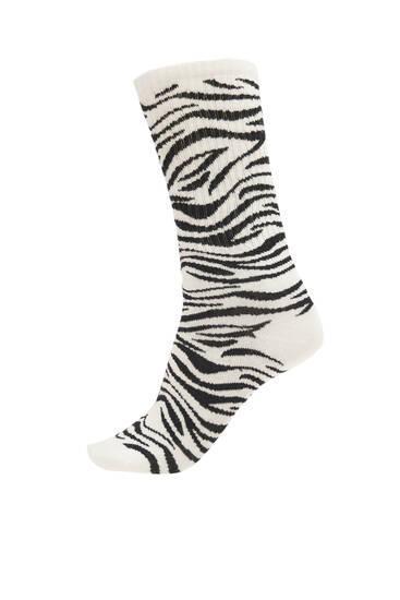 Zebra print sports socks