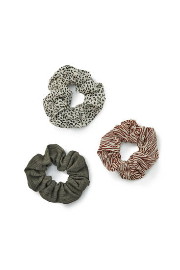 Scrunchies mit Animalprint im 3er-Pack