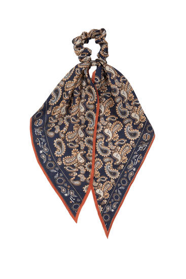 Paisley print scarf-style scrunchie