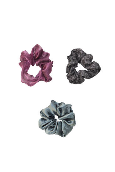 3-pack of shiny scrunchies