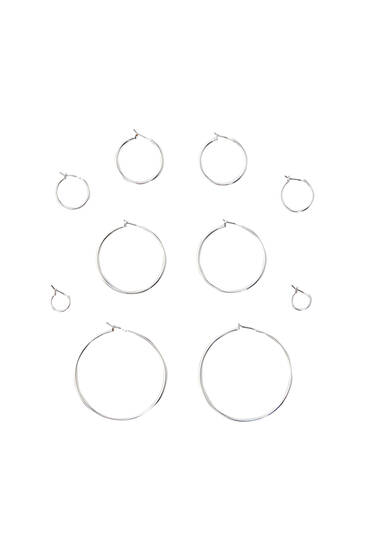 5-pack of basic hoop earrings